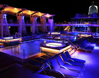 Night Pool on a cruise ship Stock Image