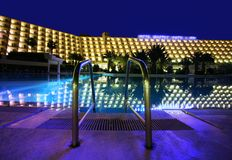 Night Pool in the luxury hotel Stock Photo