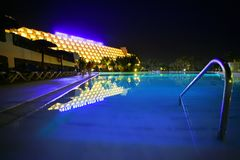 Night Pool in the luxury hotel Royalty Free Stock Photo