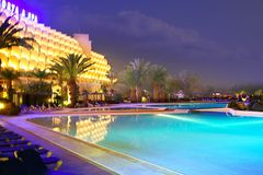 Night Pool in the luxury SPA hotel Stock Images