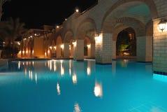 Night pool side Royalty Free Stock Image