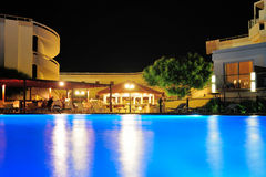 Night pool side of hotel Stock Photos