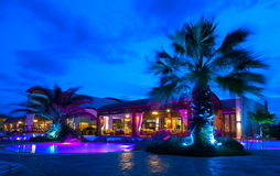 Night pool side of rich hotel Royalty Free Stock Image