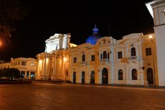 Night in Popayan Colombia. Illuminated town square in Popayan Colombia stock images