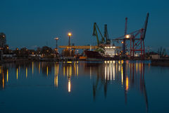 Night at the port. Night view at the port in Gdansk, Poland Royalty Free Stock Photos