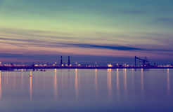 Night at the port Stock Image