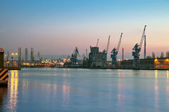 Night at the port. Night view at the port in Gdansk, Poland Royalty Free Stock Images