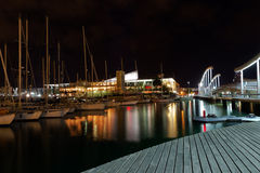 Night Port. Barcelona Landmark, Spain. Royalty Free Stock Photo