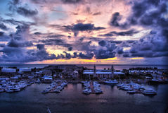 Night in Naval Dock Yard, Kings Wharf, Bermuda. Night view of port and Clock tower in Kings Wharf, Bermuda stock images