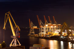 Night port infrastructure Royalty Free Stock Images