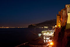 Night port. The port of Sorrento in bright evening lights Stock Photos