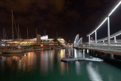 Night Port Vell in Barcelona Stock Photo