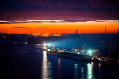 Night port work Royalty Free Stock Photo