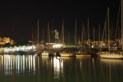 Night port and yachts Royalty Free Stock Images