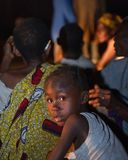 Night portrait the girl from the village of pygmies. Royalty Free Stock Photos