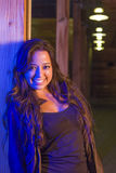 Night Portrait of Pretty Mixed Race Young Adult Woman Royalty Free Stock Photos