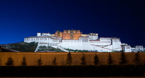 In the night of the Potala Palace. Darkness enveloped by the magnificent Potala Palace Royalty Free Stock Photography
