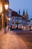 Night Prague. Sunset with Prague castle and lane on Hradcany in Prague at night lighting Royalty Free Stock Photos