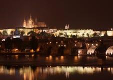 Night Prague. Night view of Vltava river and Prague Castle Stock Photos