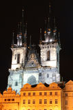 Night Prague. Night view of old Prague cathedral (Czech Republic Stock Images