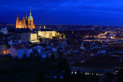 Night Prague City with the gothic Castle, Czech Republic Royalty Free Stock Photos