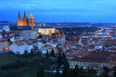 Night Prague City with the gothic Castle, Czech Republic Royalty Free Stock Image