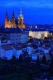 Night Prague City with the gothic Castle, Czech Republic Stock Photography
