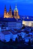 Night Prague City with the gothic Castle, Czech Republic Stock Photo