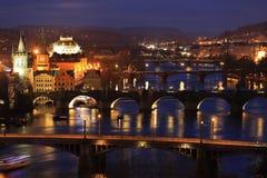 Night Prague City with its Bridges above River Vltava, Czech Republic Stock Images