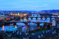 Night Prague City with its Bridges above River Vltava, Czech Republic Royalty Free Stock Photo