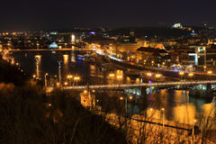 Night Prague City with its Bridges above River Vltava, Czech Republic Royalty Free Stock Photography