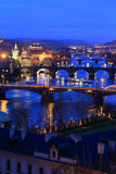 Night Prague City with its Bridges above River Vltava, Czech Republic Royalty Free Stock Photos