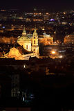 Night Prague City with St. Nicholas' Cathedral, Czech Republic Royalty Free Stock Photography