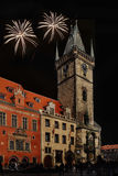 Night Prague - Fireworks Stock Photo