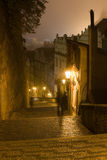 Night Prague fog Stock Photo