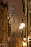 Night Prague fog. Tower of Old Town Hall on Old Town Square in Prague surrounded by fog Royalty Free Stock Photo