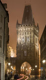 Night Prague fog. Powder gate in Prague surrounded by Prague fog at night lighting Stock Images