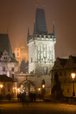 Night Prague fog Royalty Free Stock Photo