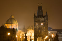 Night Prague fog Royalty Free Stock Images