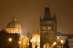 Night Prague fog royalty free stock images