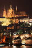 Night Prague gothic Castle above River Vltava, Czech Republic Royalty Free Stock Image