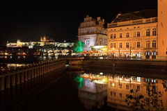 Night Prague gothic Castle above River Vltava, Czech Republic Royalty Free Stock Photos
