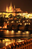 Night Prague gothic Castle with Charles Bridge Stock Photos