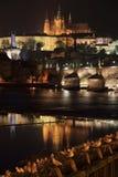 Night Prague gothic Castle with Charles Bridge, Czech Republic Royalty Free Stock Photo