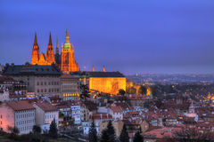Night Prague with gothic Castle, Czech Republic stock photography