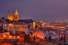 Night Prague with gothic Castle, Czech Republic Royalty Free Stock Photo