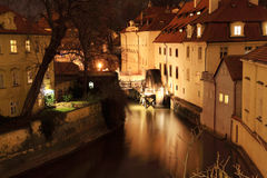 Night Prague with historically Mill Royalty Free Stock Image