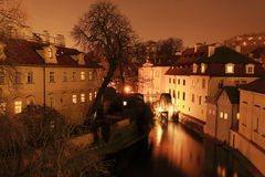 Night Prague with historically Mill Stock Photos