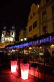 Night Prague Old Town square bar Stock Images