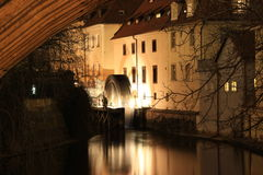 Night Prague,  Old Watermill on Chertovka river, Mala Strana Stock Photo